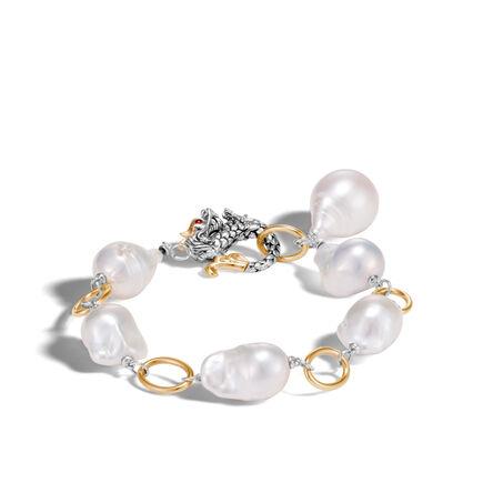 Legends Naga Link Bracelet in Silver and 18K Gold, Pearl
