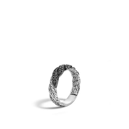Twisted Chain 5MM Band Ring in Silver with Gemstone