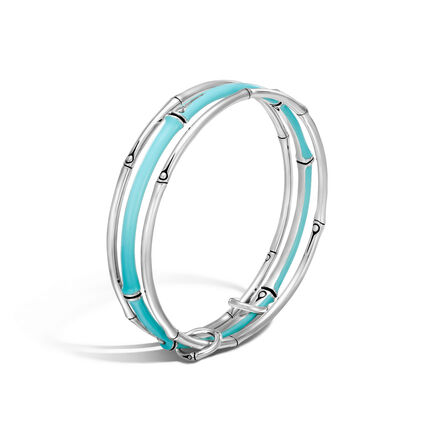 Bamboo Bangles in Silver with Enamel, Set of 3
