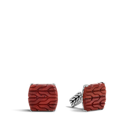 Classic Chain Cufflinks with Red Jasper