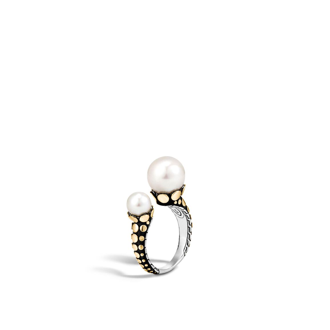 Dot Ring in Silver and 18K Gold with 11MM and 7MM Pearl