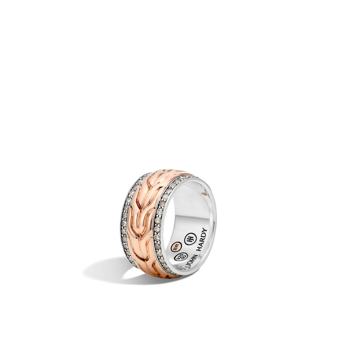 Classic Chain 15MM Band Ring in Silver and Bronze, Diamonds