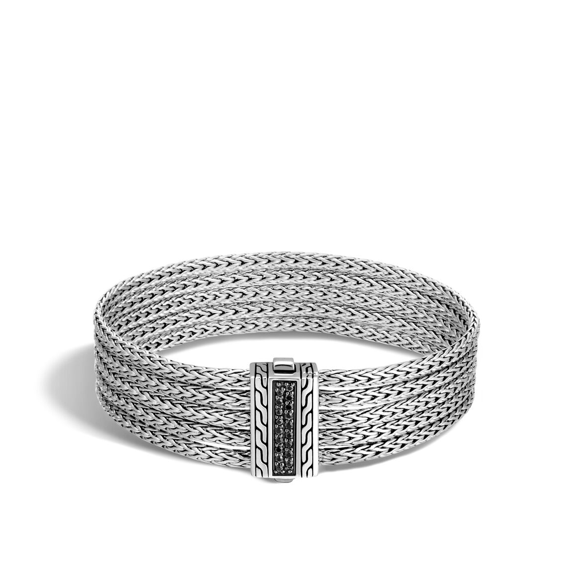 Classic Chain Five Row Bracelet in Silver with Gemstone