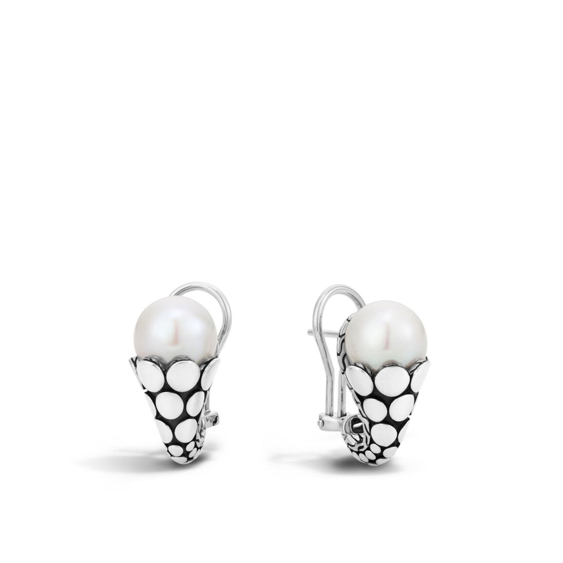Dot Buddha Belly Earring in Silver with 10MM Pearl
