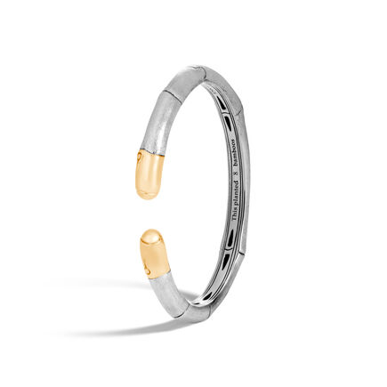 Bamboo 7MM Kick Cuff in Brushed Silver and 18K Gold