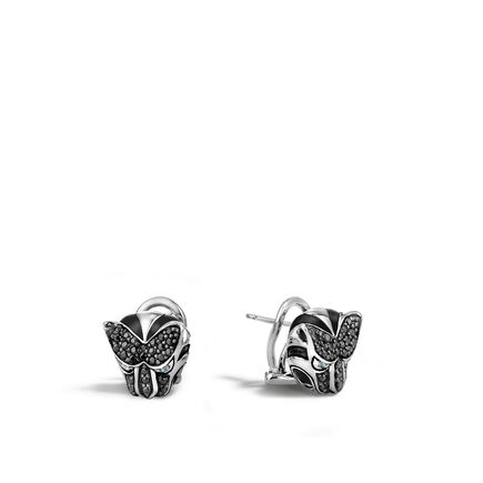 Legends Macan Button Earring in Silver with Gemstone