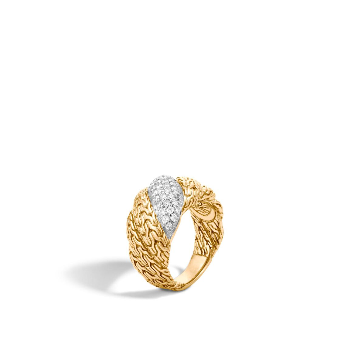 Twisted Chain 12.5MM Band Ring in 18K Gold with Diamonds