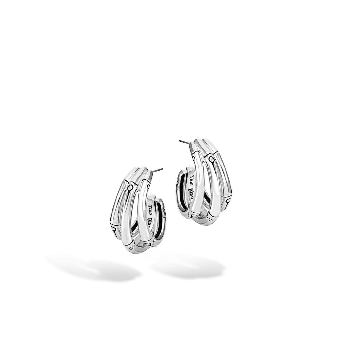Bamboo Small J Hoop Earring in Silver