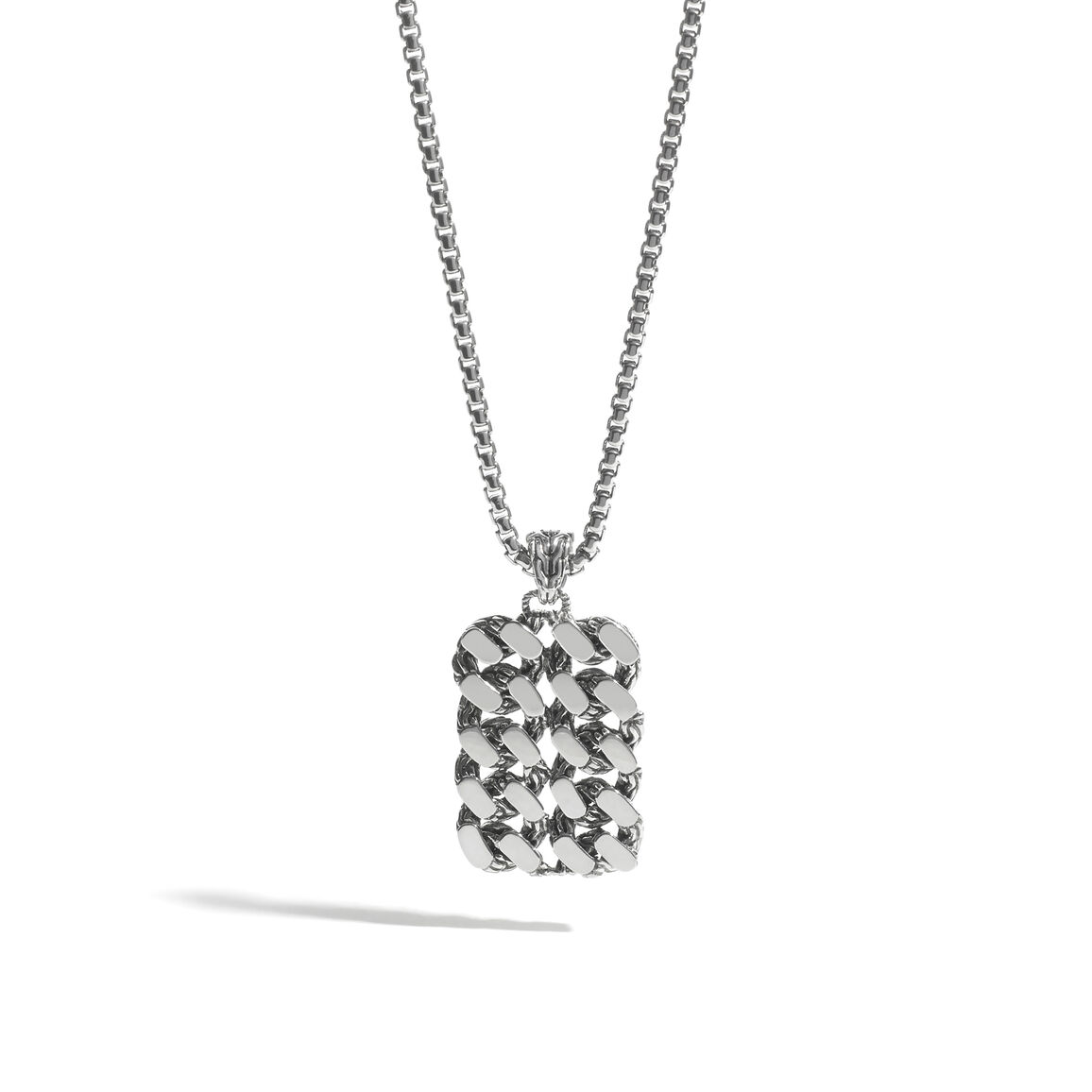 Classic Chain Dog Tag Necklace in Silver