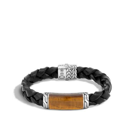 Classic Chain 12MM Bracelet in Silver and Leather, Gemstone