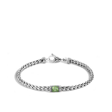 40th Anniversary Classic Chain 3.5MM  Bracelet in Silver with Gemstone