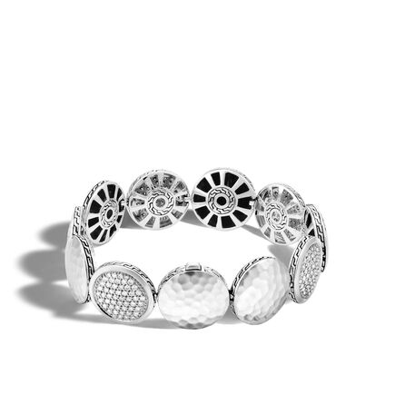 Dot 16MM Link Bracelet in Hammered Silver with Diamonds