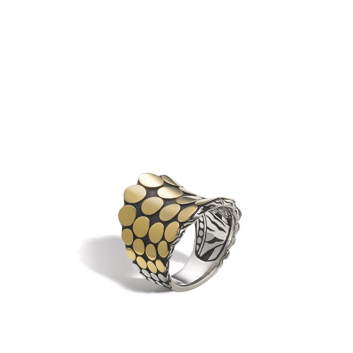 Dot Saddle Ring in Silver and 18K Gold