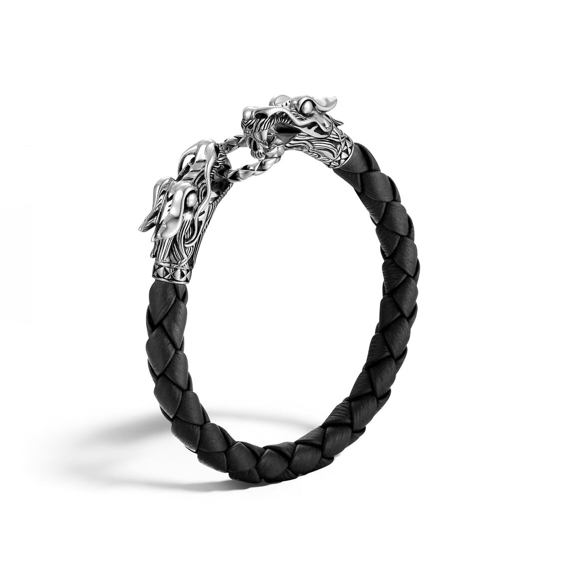 Legends Naga 8MM Double Head Bracelet in Silver and Leather