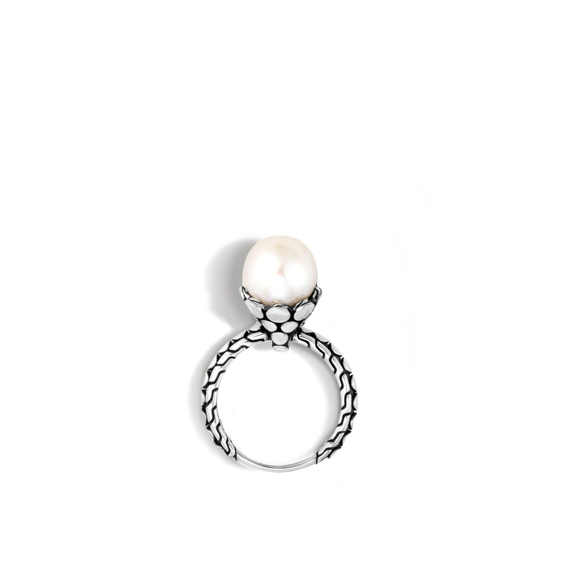 Dot Charm Ring in Silver with 10MM Pearl