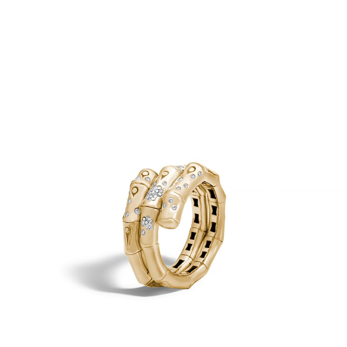 Bamboo Coil Ring in 18K Gold with Diamonds