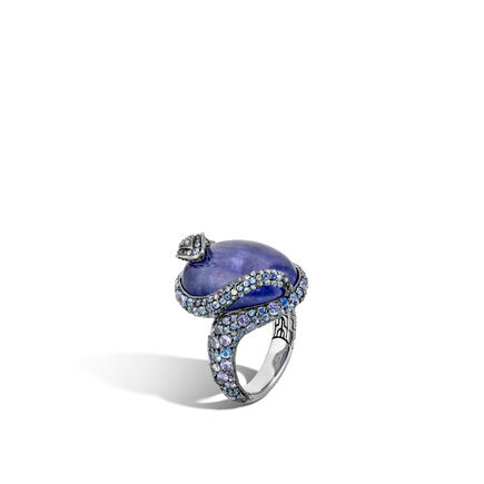 Legends Cobra Ring in Silver with 20x15MM Gemstone, Diamonds