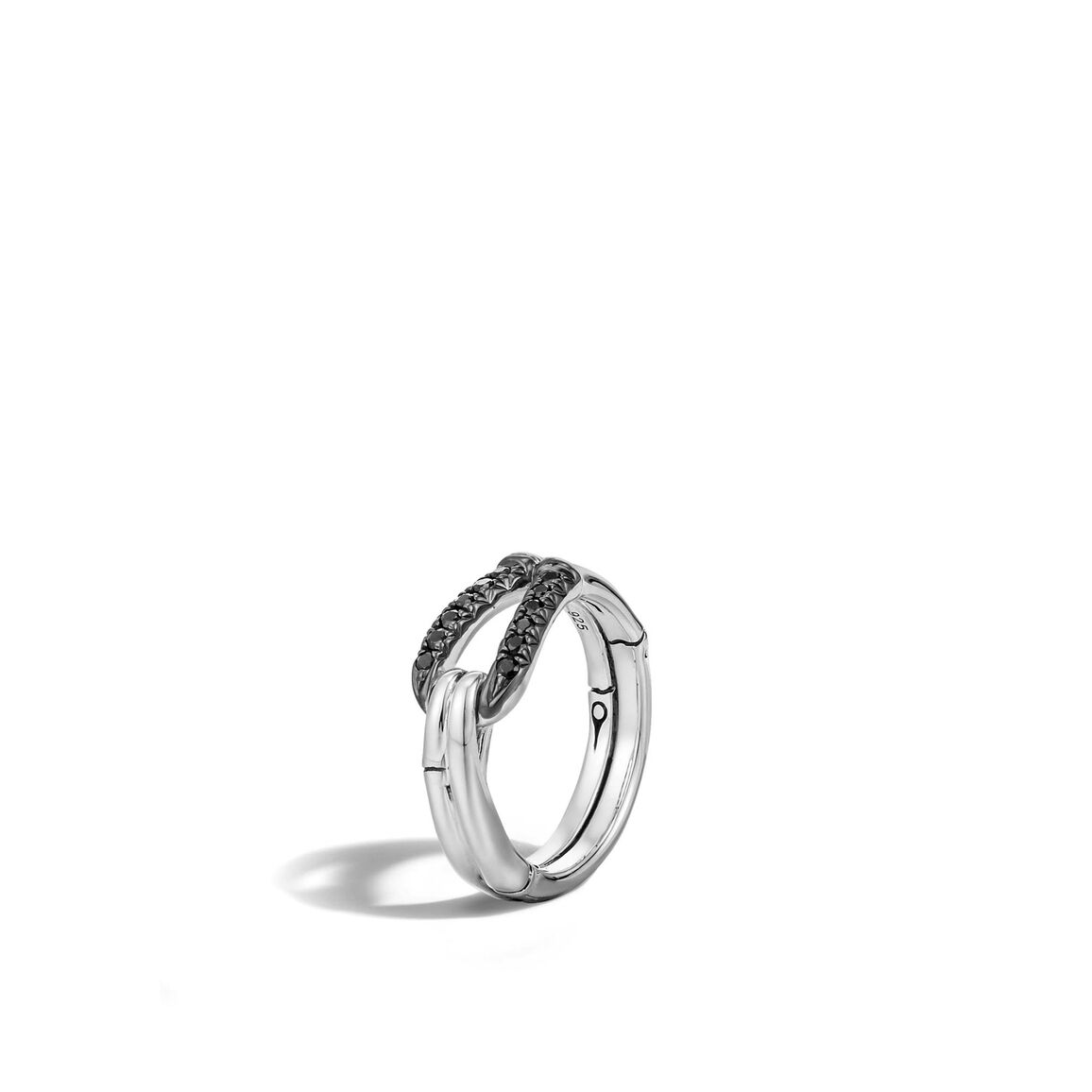 Bamboo Ring in Silver with Gemstone