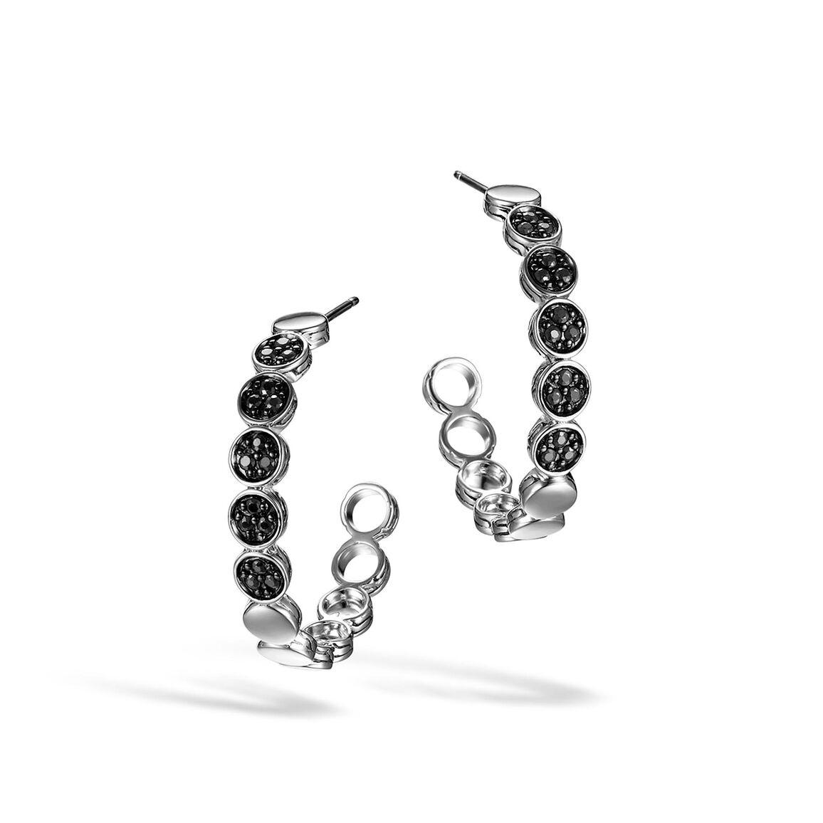 Small Hoop Earrings with Black Sapphire