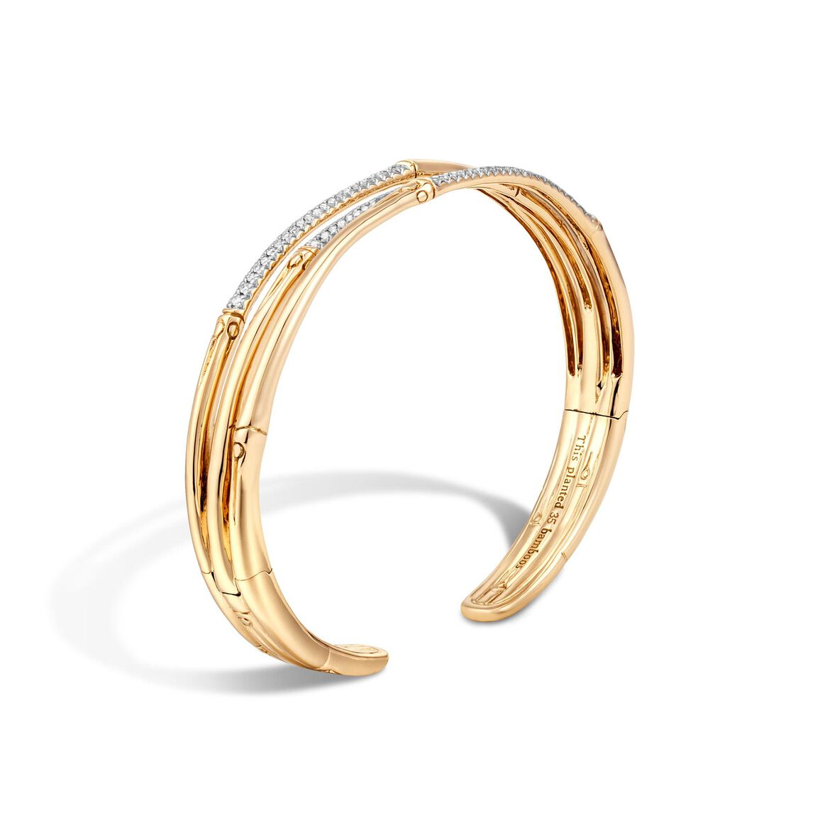 Bamboo 10MM Cuff in 18K Gold with Diamonds