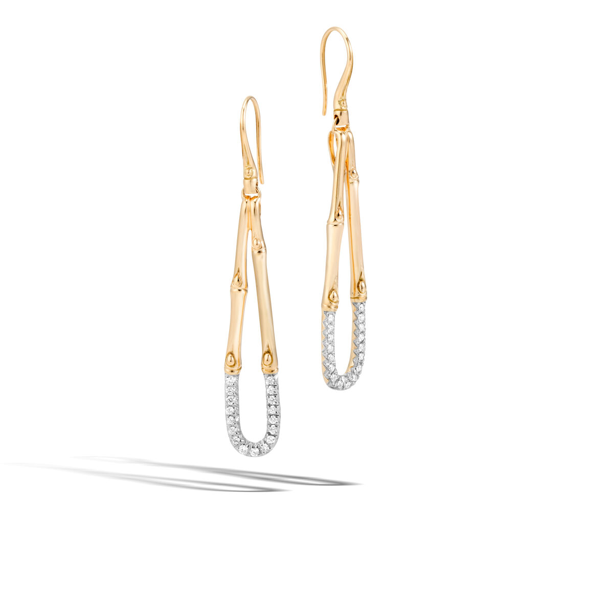 Bamboo Drop Earring in 18K Gold with Diamonds