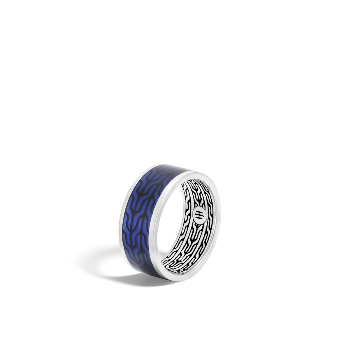 Classic Chain 9.5MM Band Ring, Silver with Transparent Enamel