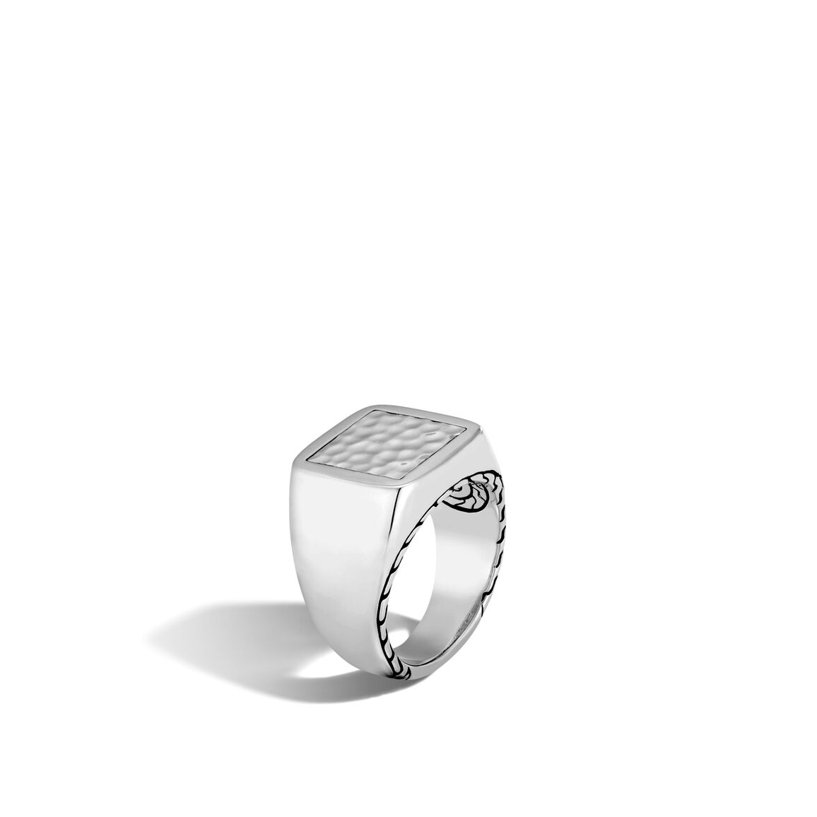 Classic Chain Signet Ring in Hammered Silver