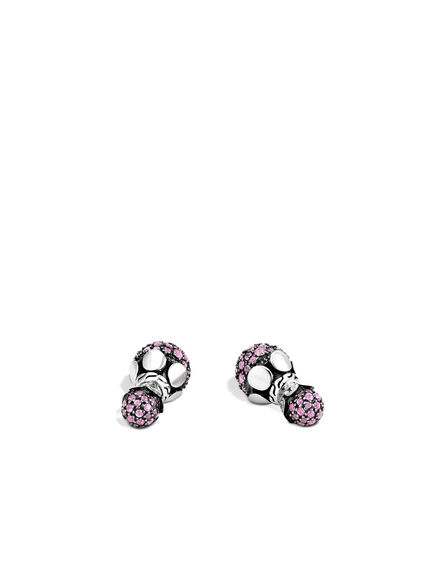 Dot Reversible Stud Earring in Silver with Gemstone