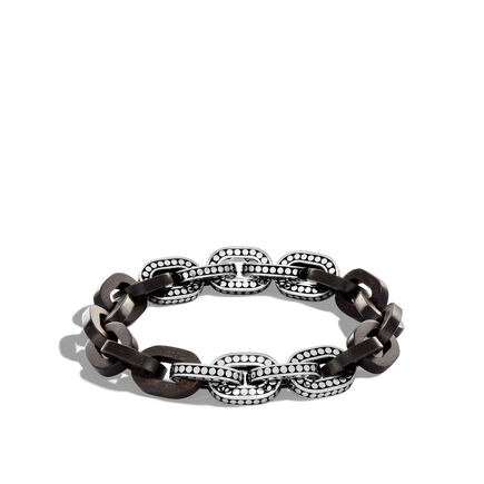 Dot 11.5MM Link Bracelet in Silver with Wood