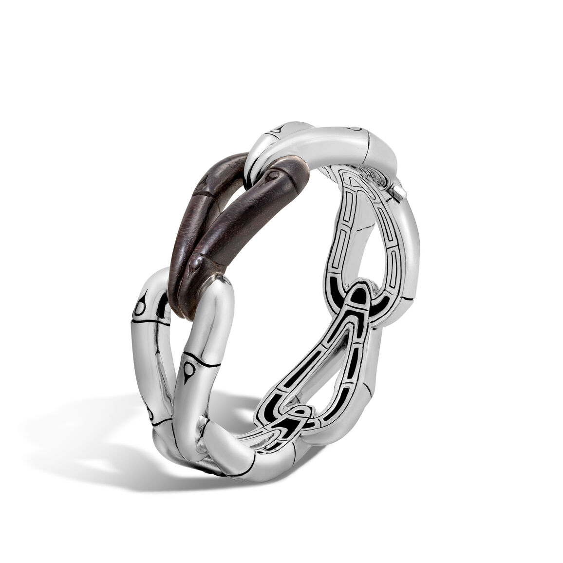 Bamboo 23MM Hinged Bangle in Silver