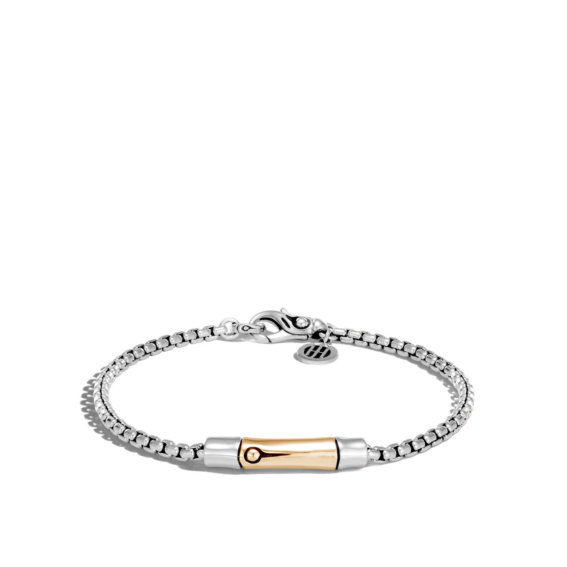 Bamboo 2.7MM Station Bracelet in Silver and 18K Gold