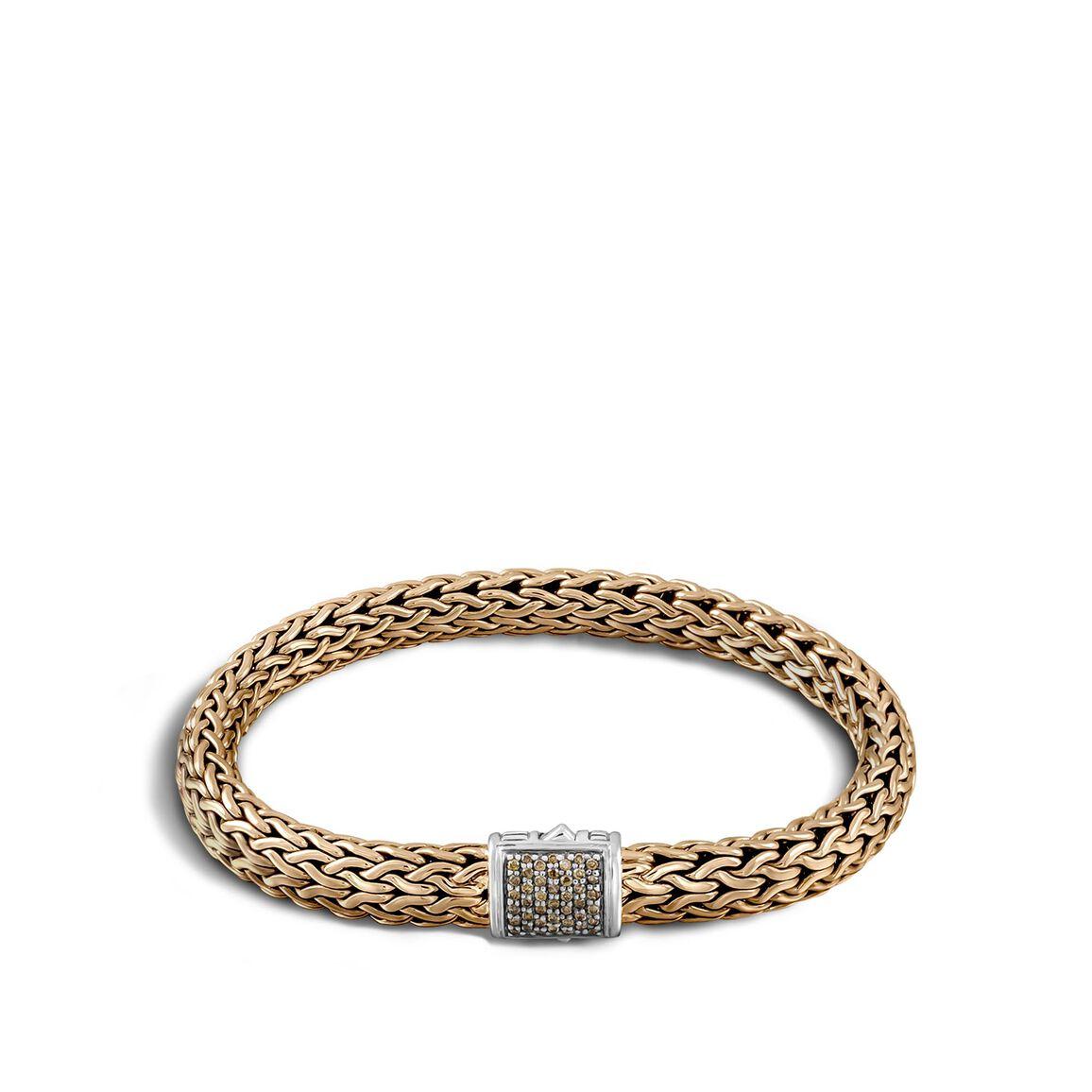 Classic Chain 7.5MM Bracelet, Silver, Bronze, Diamonds