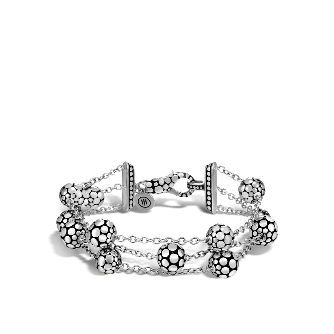 Dot Triple Row Bracelet in Silver