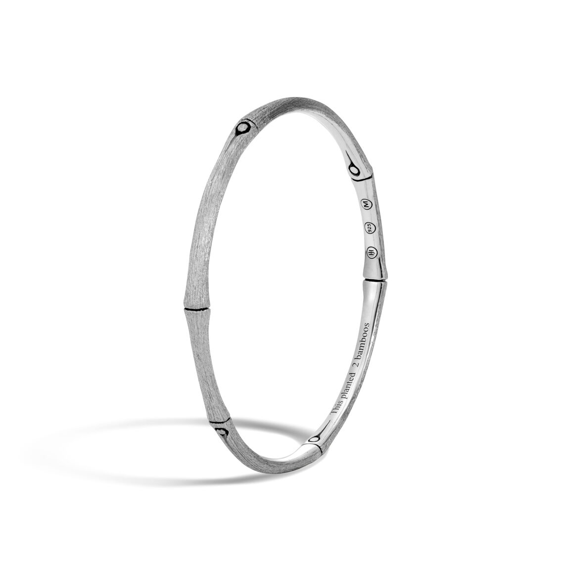Bamboo 3.5MM Bangle in Brushed Silver