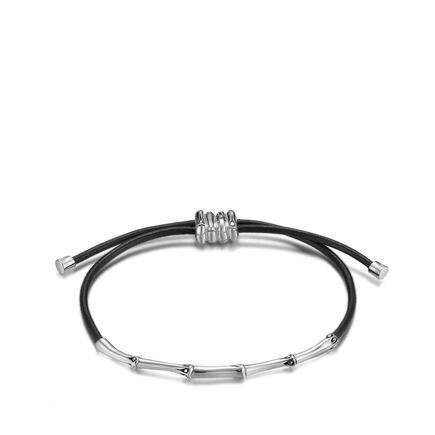 Bamboo 2MM Station Bracelet in Silver and Leather