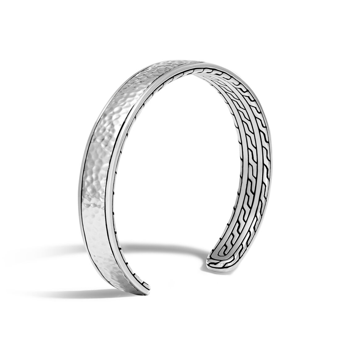 Classic Chain 9MM Cuff in Hammered Silver