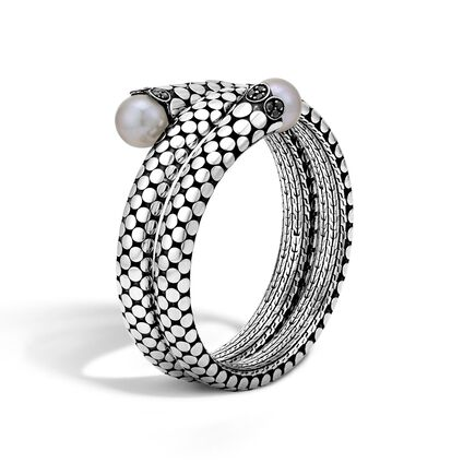 Dot Double Coil Bracelet in Silver with 11MM Pearl, Gemstone