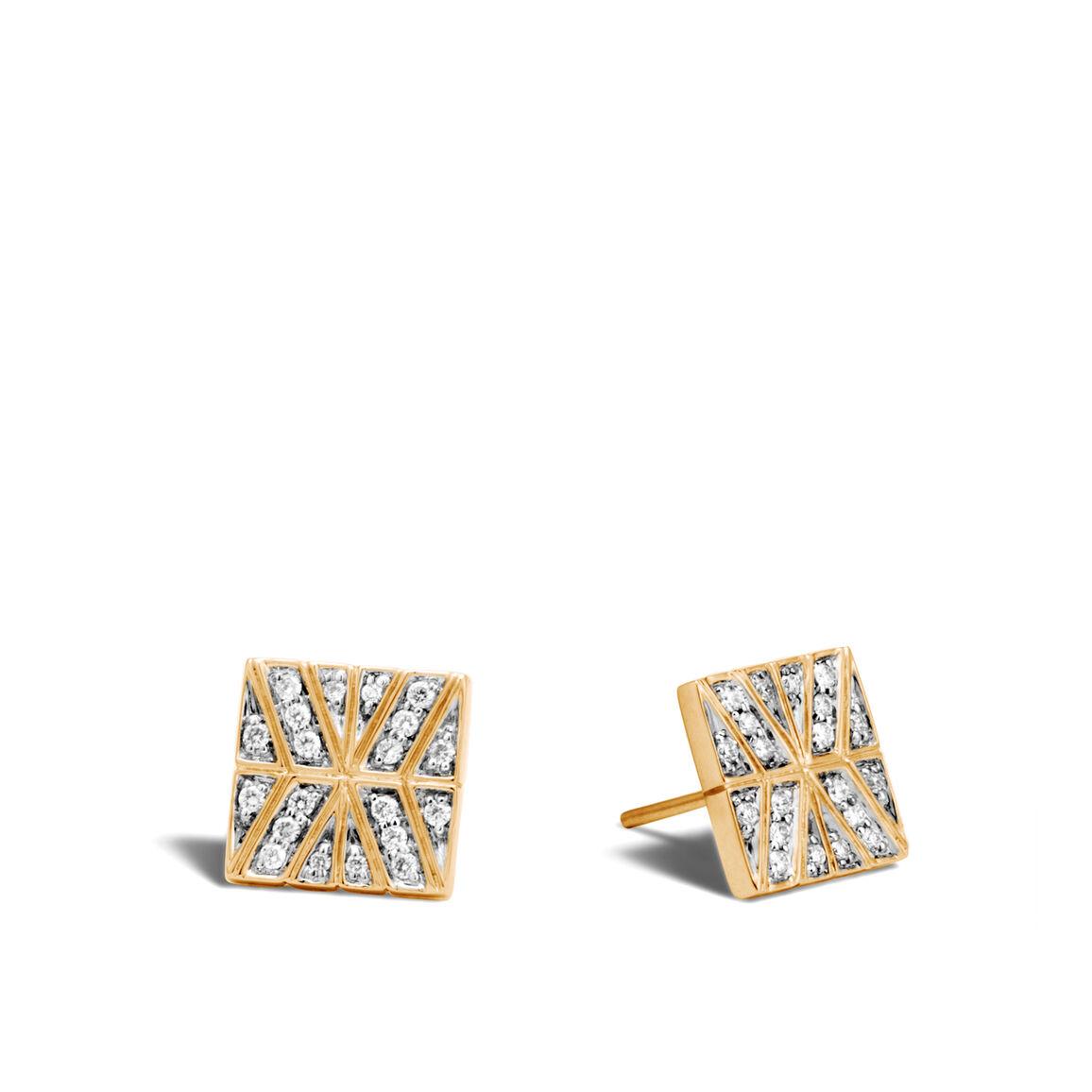 Modern Chain Stud Earrings in 18K Gold with Diamonds