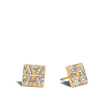 Modern Chain Stud Earring in 18K Gold with Diamonds