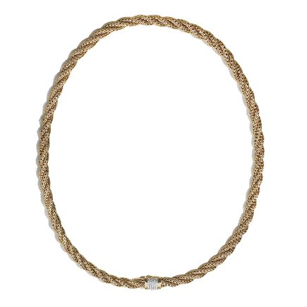 Classic Chain 6.5MM Woven Necklace in 18K Gold