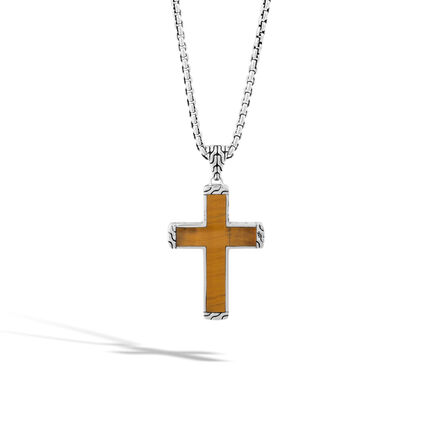 Classic Chain Cross Necklace in Silver with Gemstone