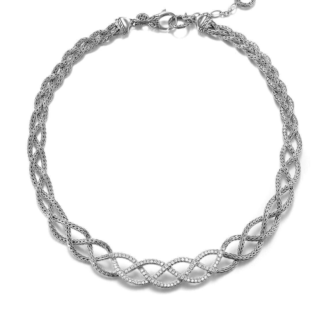 Braided Chain 13MM Necklace in Silver
