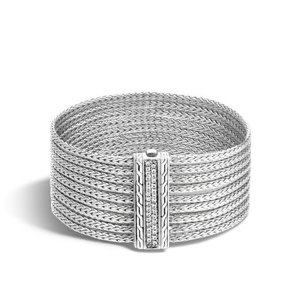 Classic Chain Nine Row Bracelet in Silver with Diamonds