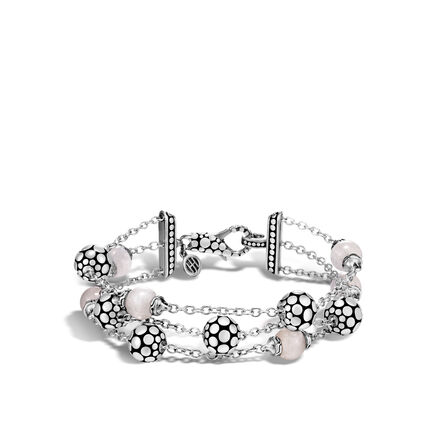 Dot Triple Row Bracelet in Silver with Gemstone