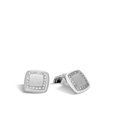 Classic Chain Cufflinks in Silver with Diamonds