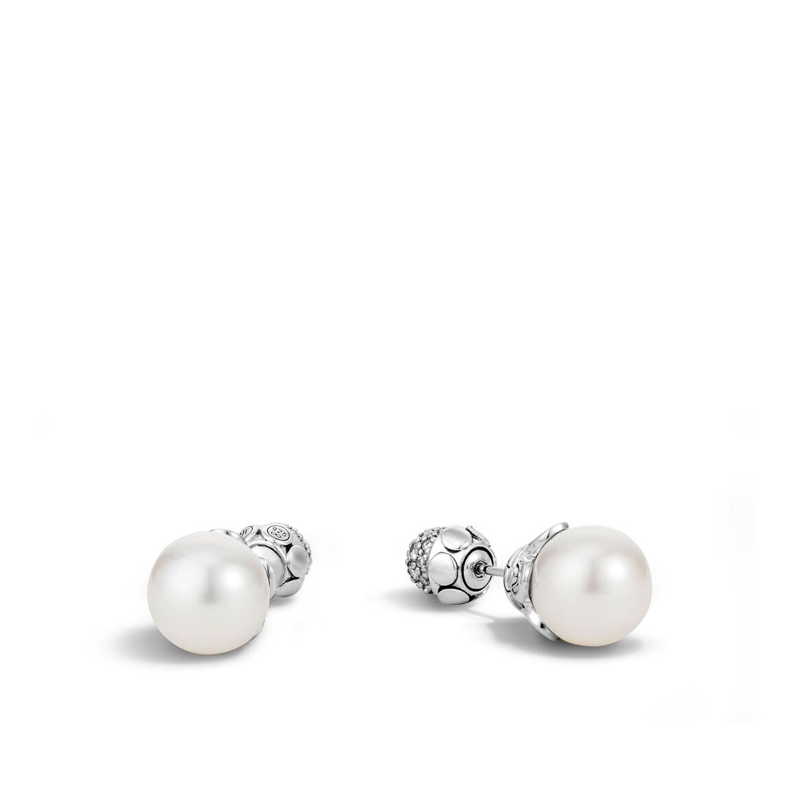 Dot Reversible Stud Earring, Silver, 11MM Pearl and Diamonds