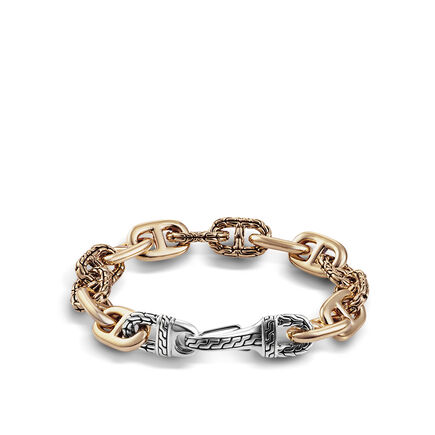 Classic Chain 12MM Link Bracelet in Silver and Bronze