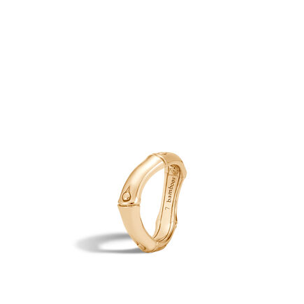 Bamboo 6MM Curved Band Ring in 18K Gold