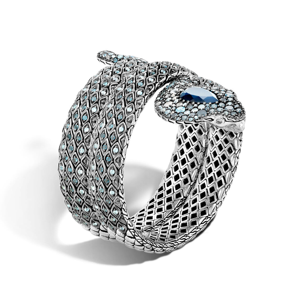 Legends Cobra Double Coil Bracelet in Silver with Gemstone