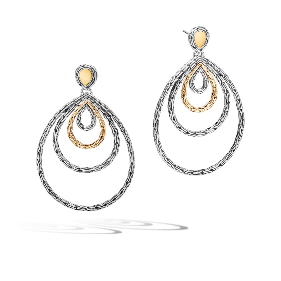 Classic Chain Drop Earring in Silver and 18K Gold